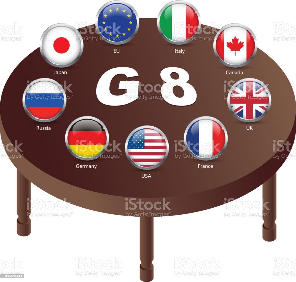 G8 meeting vector art illustration