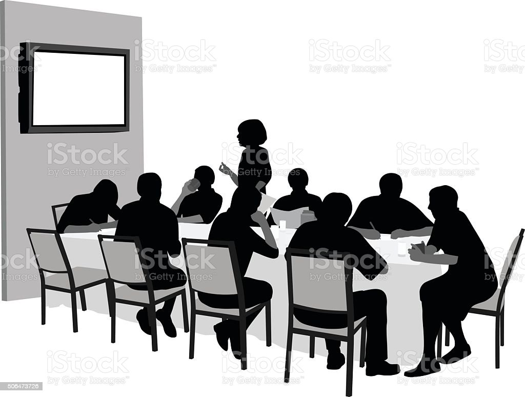 Meeting With Audio Visual Presentation vector art illustration