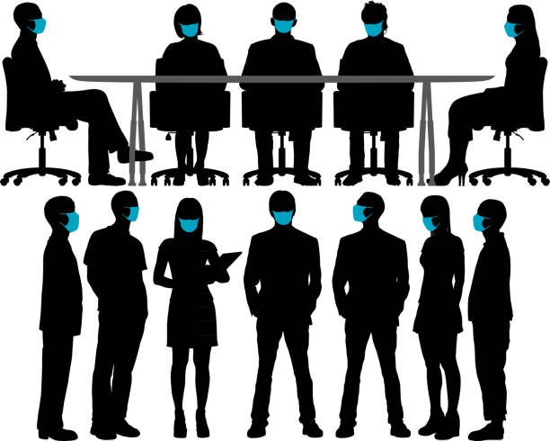 Meeting With Surgical Masks. vector art illustration