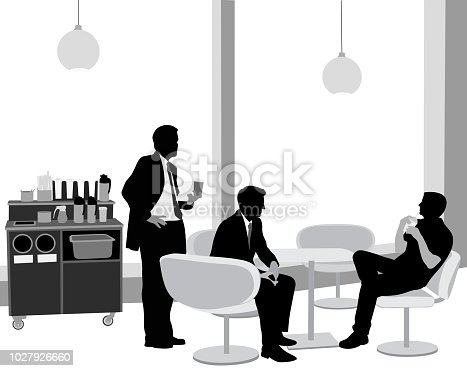 Three business men talking over coffee