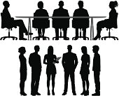 Silhouettes of meetings. The people are highly detailed and easy to move around (they are not stuck to the table).