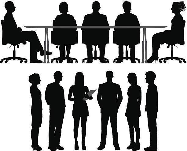 Meetings Silhouettes of meetings. The people are highly detailed and easy to move around (they are not stuck to the table). sitting stock illustrations