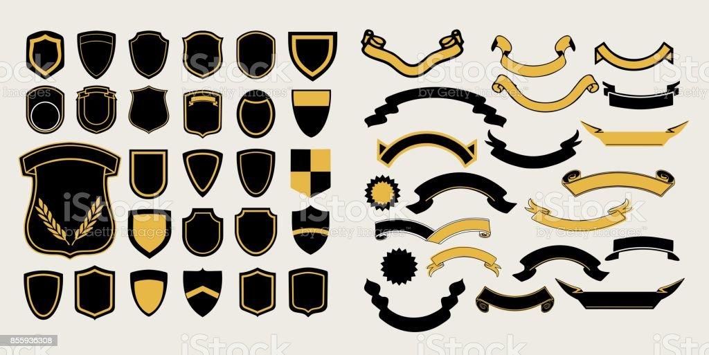 Mega a set of templates. Chevrons and ribbons for the design of logos, emblems and labels vector art illustration