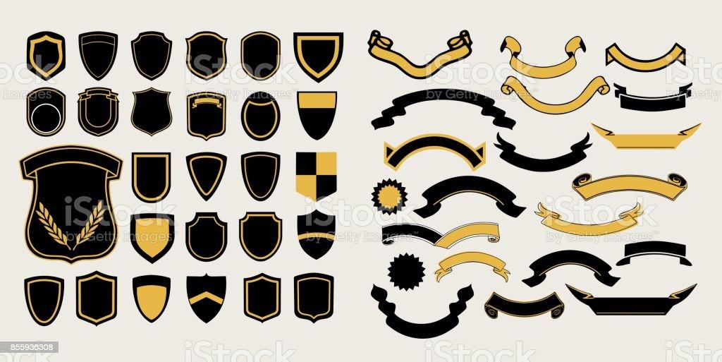 Mega un ensemble de modèles. Chevrons et rubans pour la conception de logos, emblèmes et étiquettes - Illustration vectorielle