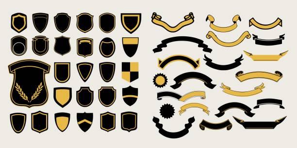 stockillustraties, clipart, cartoons en iconen met mega een set sjablonen. dubbele punthaken en linten voor het ontwerp van labels, logo's en emblemen - schild wapen