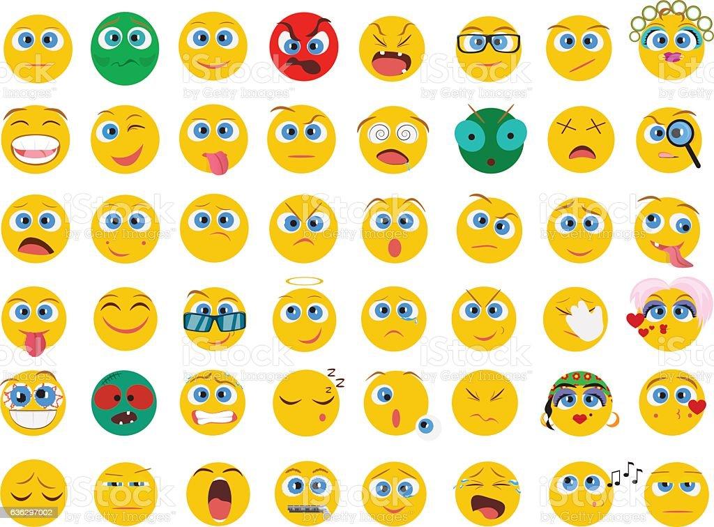 Mega big collection set of flat Emoji face emotion icons vector art illustration