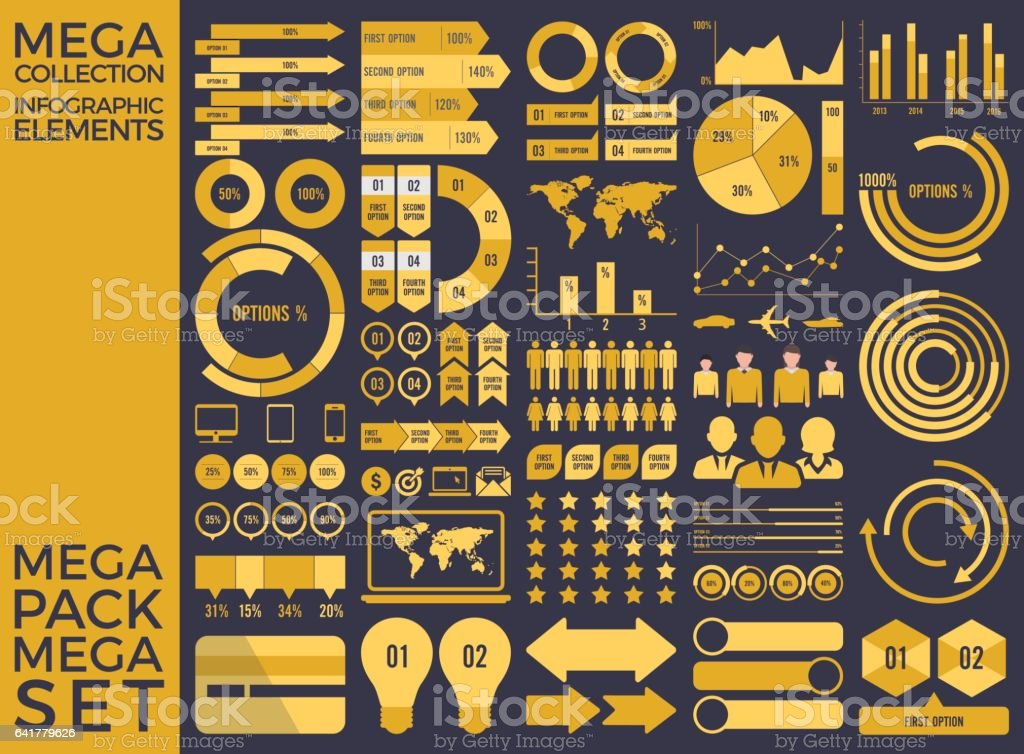 Mega Collection and Mega Set Infographic Elements Vector Design vector art illustration
