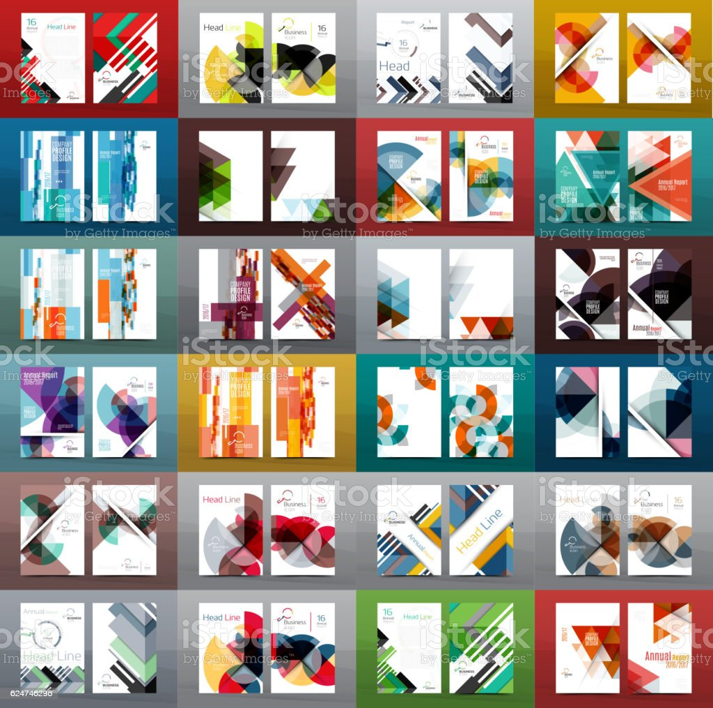 Mega collection of 100 business annual report brochure templates vector art illustration