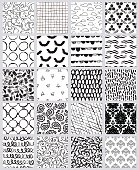 Mega collection of artistic and creative seamless pattern designs, twenty different styles, modern and trendy repeating vector background design elements