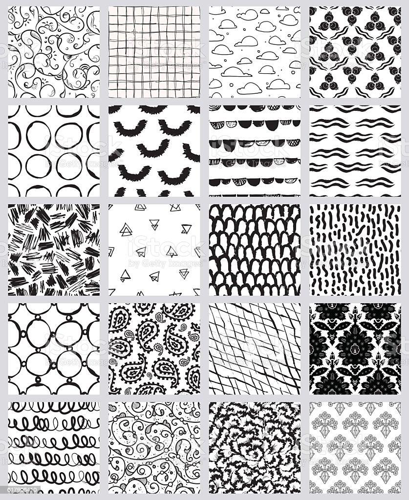 Mega collection of artistic seamless pattern designs vector art illustration