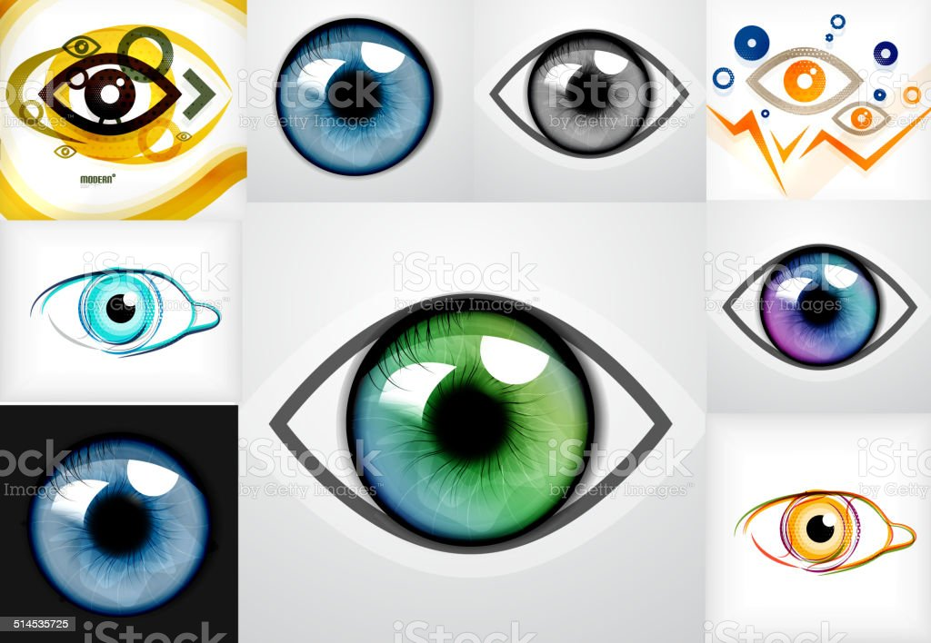 Mega collection of eye design templates vector art illustration
