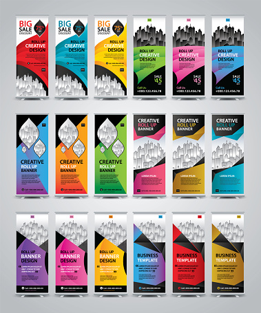Mega Collection of Roll Up Banner template vector, Banner Design, Modern Exhibition Advertising, poster, x-banner, x-flag, display, Standing Banner Design, flag banner, presentation, Business template