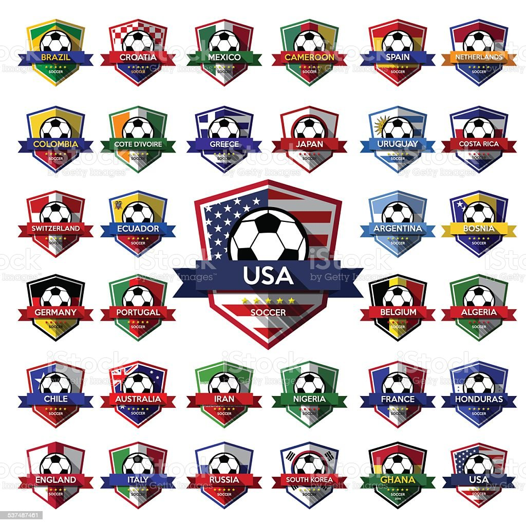 Mega coleção de futebol escudo (futebol) - ilustração de arte em vetor