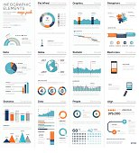 Mega colletion of infographic business vector elements EPS10. Modern graphics for corporate brochures, website, magazines and many other publications.