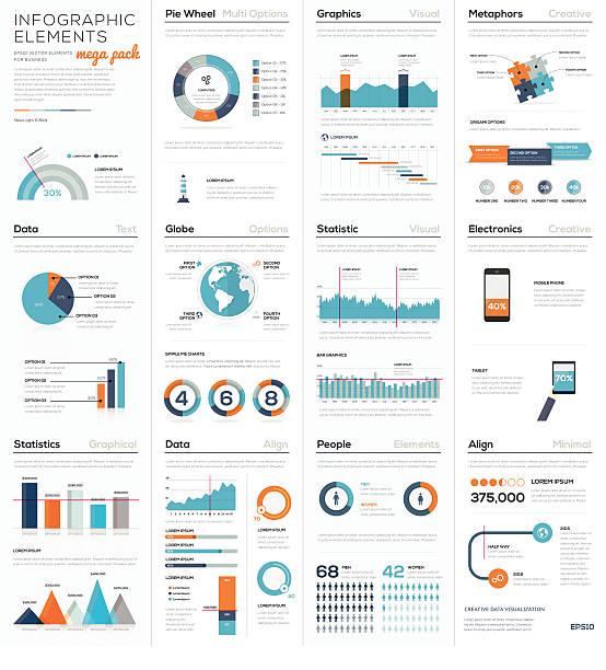 illustrations, cliparts, dessins animés et icônes de mega colletion d'éléments infographie pour affaires vecteur eps10 - infographie de démographie