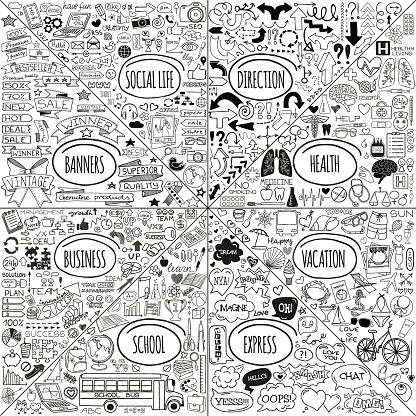 Mega doodle icons set
