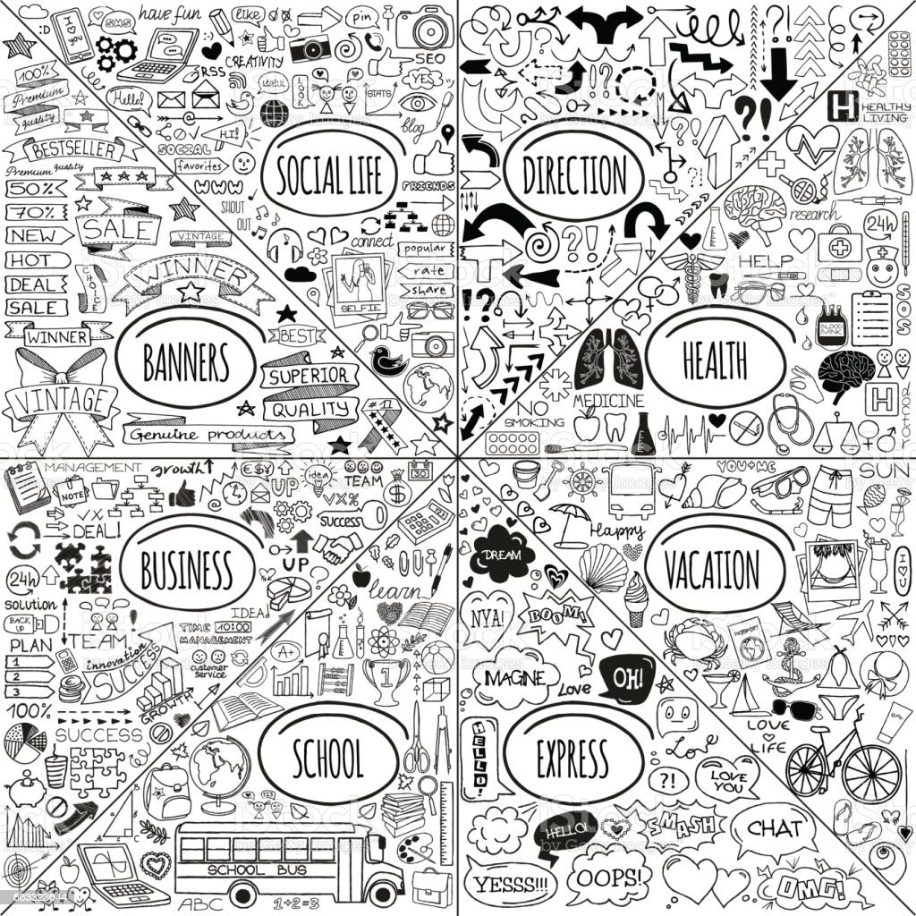 Mega doodle icons set vector art illustration