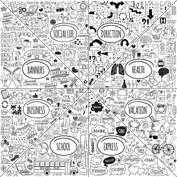 mega doodle icons set - journey vector stock illustrations, clip art, cartoons, & icons