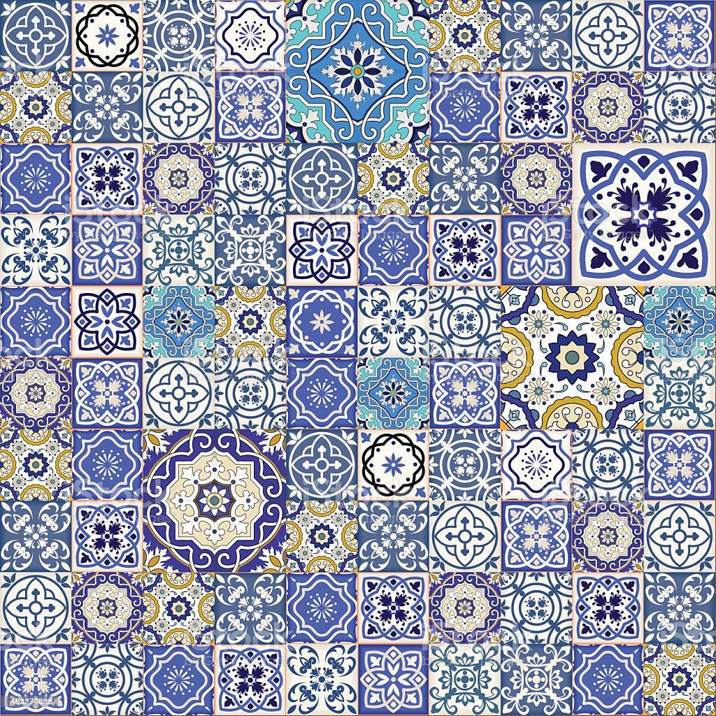 Mega Gorgeous seamless patchwork pattern from colorful Moroccan tiles, ornaments. vector art illustration