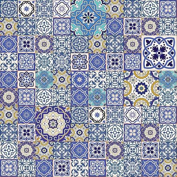 kolorowa mega wspaniałe bezszwowe wzór z kolorowe płytki marokański, ozdoby. - wyrób ceramiczny stock illustrations