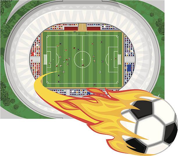 bildbanksillustrationer, clip art samt tecknat material och ikoner med mega kick - fotboll eld