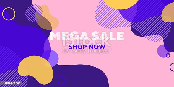 Mega sale abstract banner design with overlaid forms. Fluid dynamical shapes, flowing liquid, pink background. Trendy design for posters, flyers, advertising design