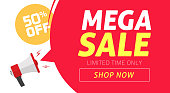 Mega sale banner design with 50 off price discount offer tag and megaphone announce vector illustration, flat clearance promotion or special percent deal off web coupon template or flyer