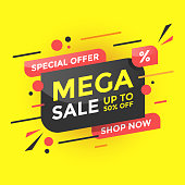 istock Mega Sale  Banner Poster Design. Special Offer and Up to 50% Off on Color Abstract Background. 1344444269