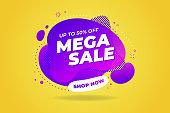 Mega Sale banner template design. Big sale special offer promotion discount banner.