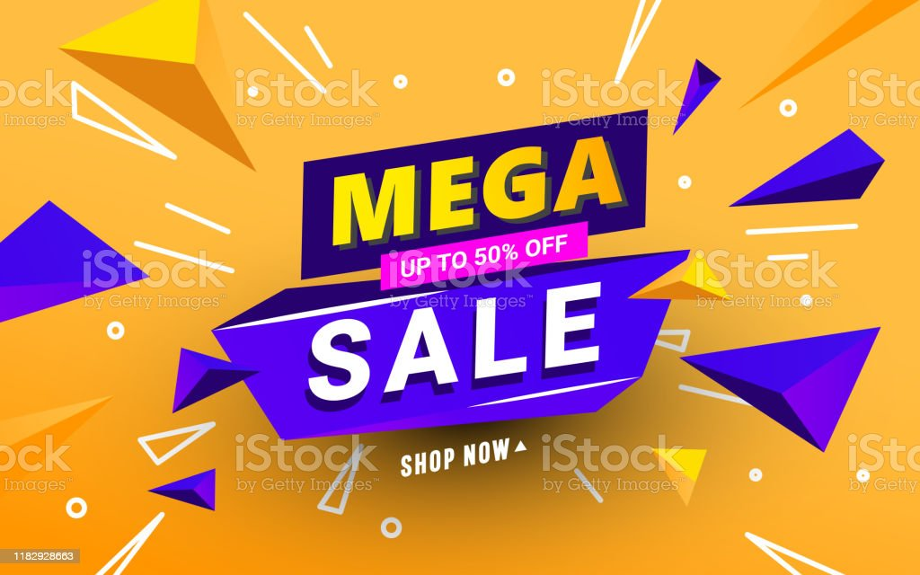 Abstract Mega sale banner template with polygonal shapes and text for...