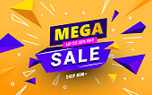 istock Mega sale banner template with polygonal 3D shapes and text for special offers, sales and discounts. Promotion and shopping template for Black Friday 50 off 1182928663