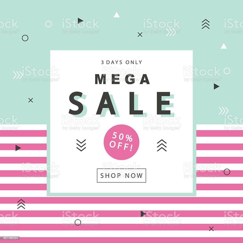 Mega Sale Banner vector art illustration