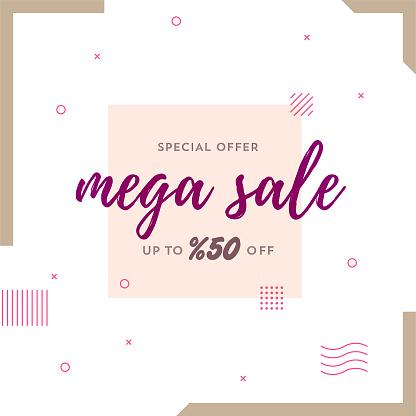 Mega Sale Retro Web Banner for Social Media