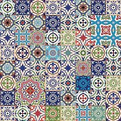 Mega seamless patchwork pattern. Colorful Moroccan, Portuguese  tiles, Azulejo, ornaments..