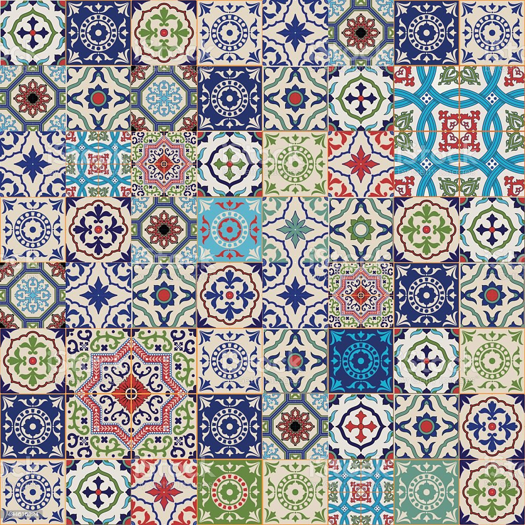 Mega seamless patchwork pattern. Colorful Moroccan, Portuguese  tiles, Azulejo, ornaments.. vector art illustration