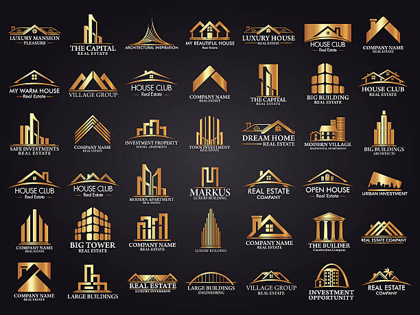 mega set and big group, real estate, building and construction logo - empire stock illustrations