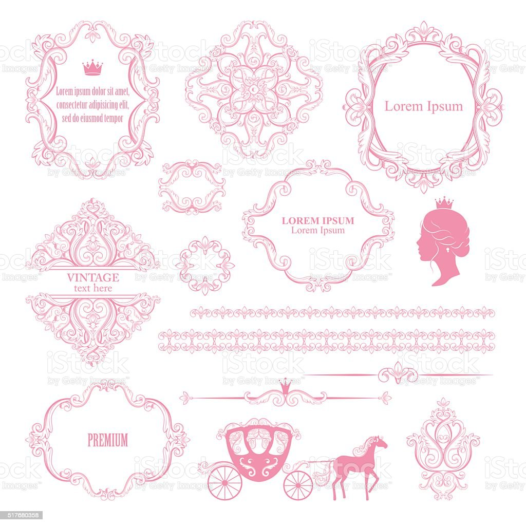 Mega set collections of vintage design elements. vector art illustration