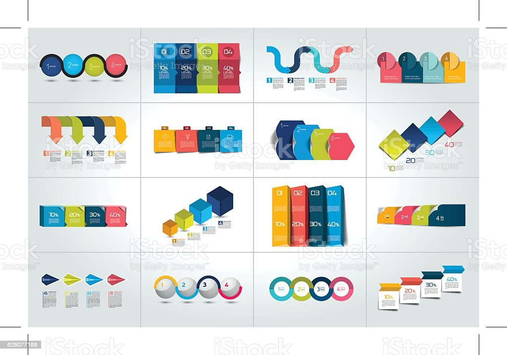 Mega set of 4 steps infographic templates, diagrams, graph, chart. vector art illustration