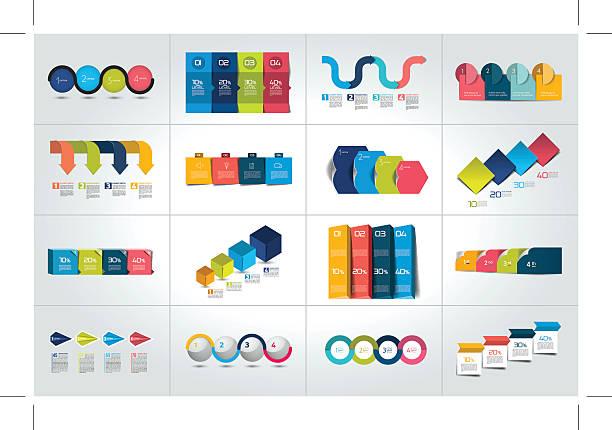 Mega set of 4 steps infographic templates, diagrams, graph, chart. vector art illustration