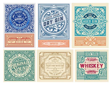 Mega set of 6 vintage labels. Vector layered