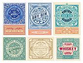 istock Mega set of 6 vintage labels. Vector layered 1224450661