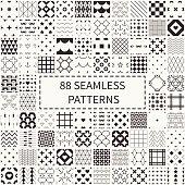 Mega set of 88 geometric universal different seamless decorative patterns.
