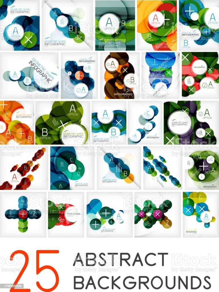 Mega set of circle geometric backgrounds royalty-free stock vector art