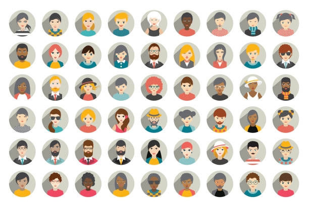 mega set of circle persons, avatars, people heads  different nationality - female faces stock illustrations, clip art, cartoons, & icons