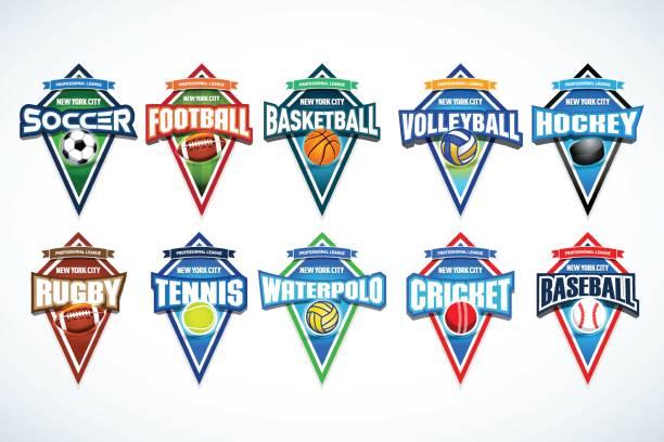 stockillustraties, clipart, cartoons en iconen met mega set van kleurrijke sport emblemen voetbal, voetbal, basketbal, volleybal, hockey, rugby, tennis, waterpolo, cricket, honkbal. - sportkampioenschap