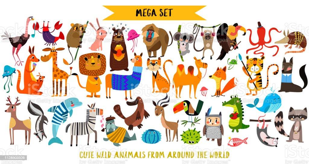 Méga ensemble des animaux de dessin animé mignon: animaux sauvages, animaux de la marina. Illustration vectorielle isolée sur fond blanc. - clipart vectoriel de Affiche libre de droits