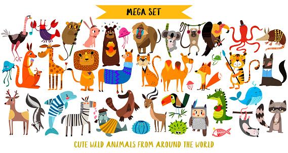 Mega set of cute cartoon animals: wild animals, marina animals.Vector illustration isolated on white background.