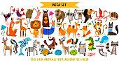 かわいい漫画の動物のメガ セット: 野生動物、マリーナ動物。ベクター グラフィックは、白い背景で隔離。