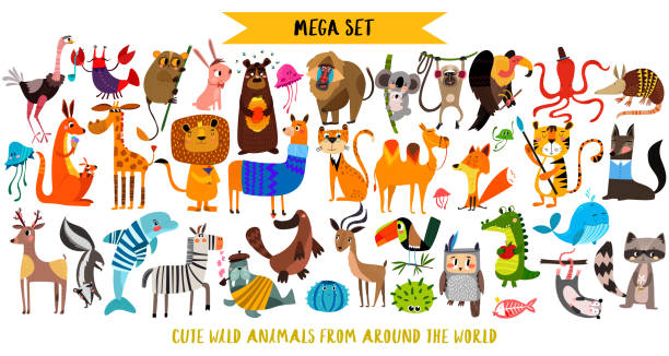 mega set of cute cartoon animals: wild animals, marina animals.vector illustration isolated on white background. - animals stock illustrations