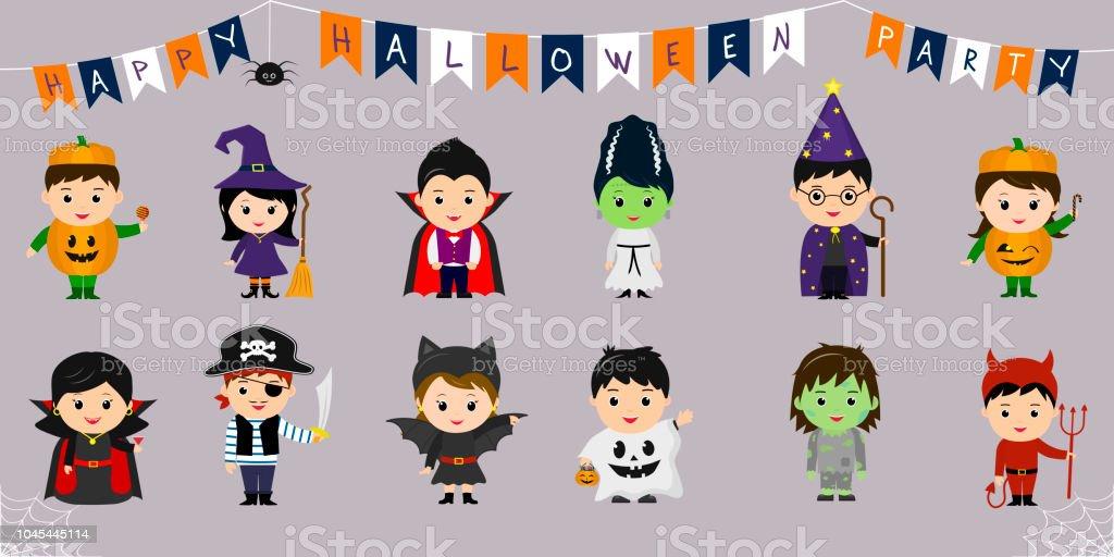 Ilustración De Mega Set De Símbolos De Halloween Doce Niños Bonitos